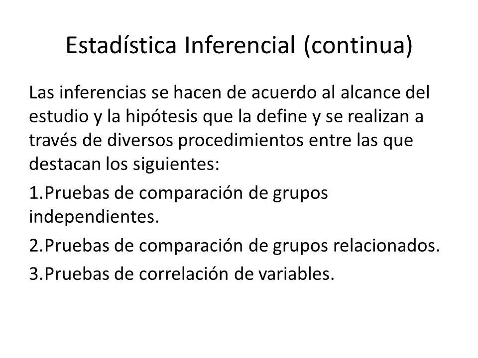 Estadística Inferencial (continua)