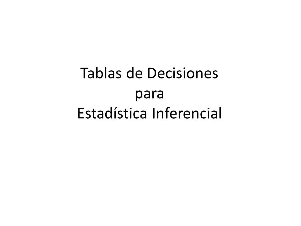 Tablas de Decisiones para Estadística Inferencial