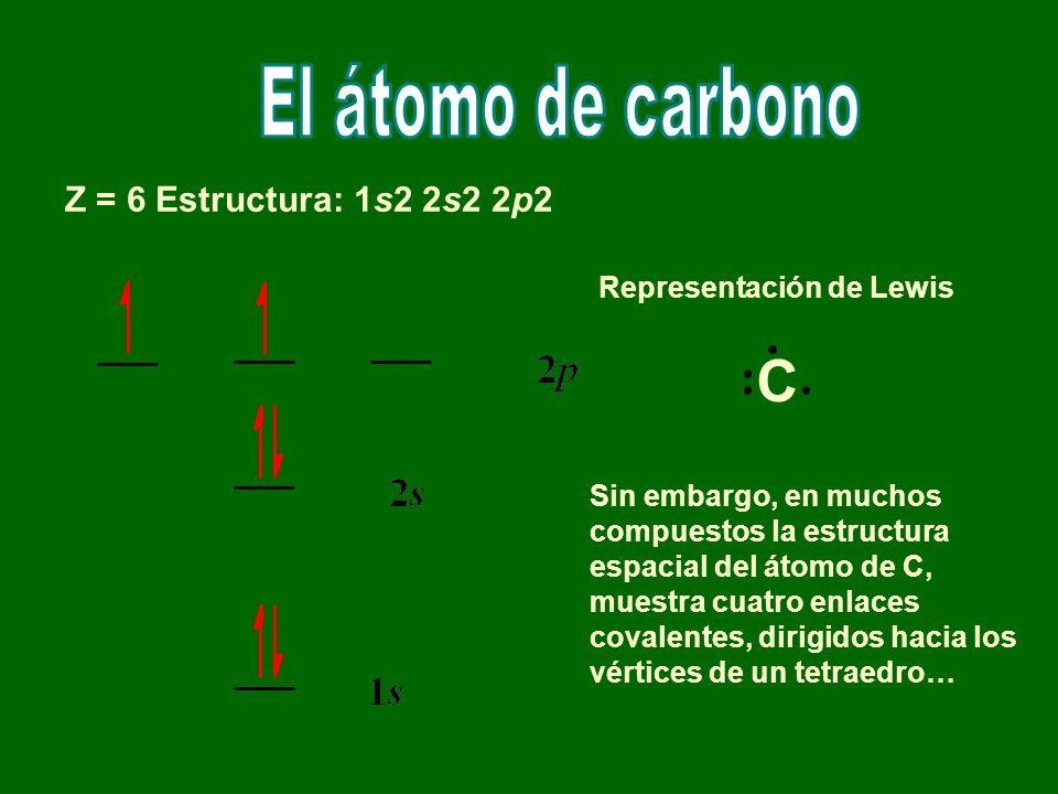 C El átomo de carbono Z = 6 Estructura: 1s2 2s2 2p2