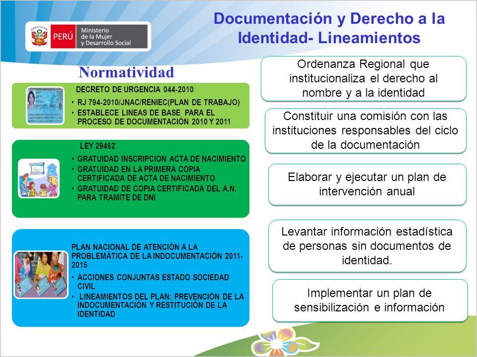 Documentación y Derecho a la Identidad- Lineamientos
