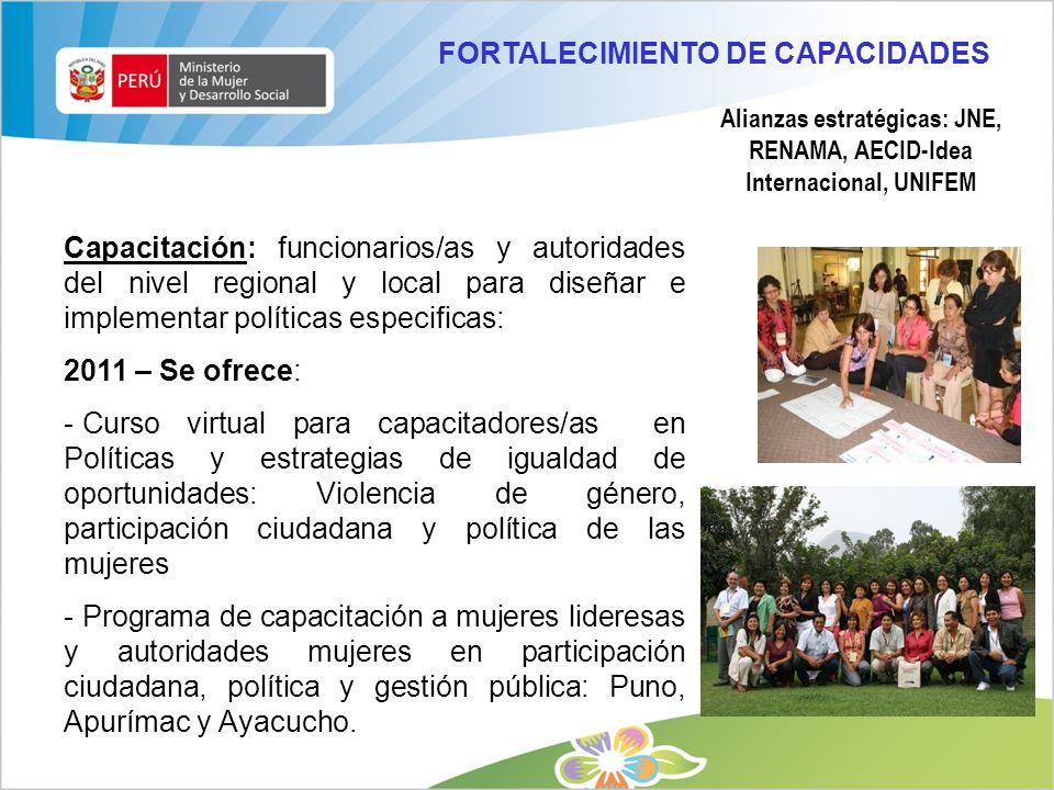 Alianzas estratégicas: JNE, RENAMA, AECID-Idea Internacional, UNIFEM