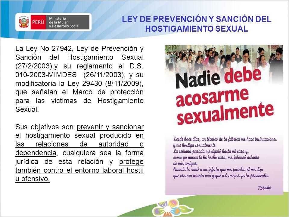 LEY DE PREVENCIÓN Y SANCIÓN DEL HOSTIGAMIENTO SEXUAL