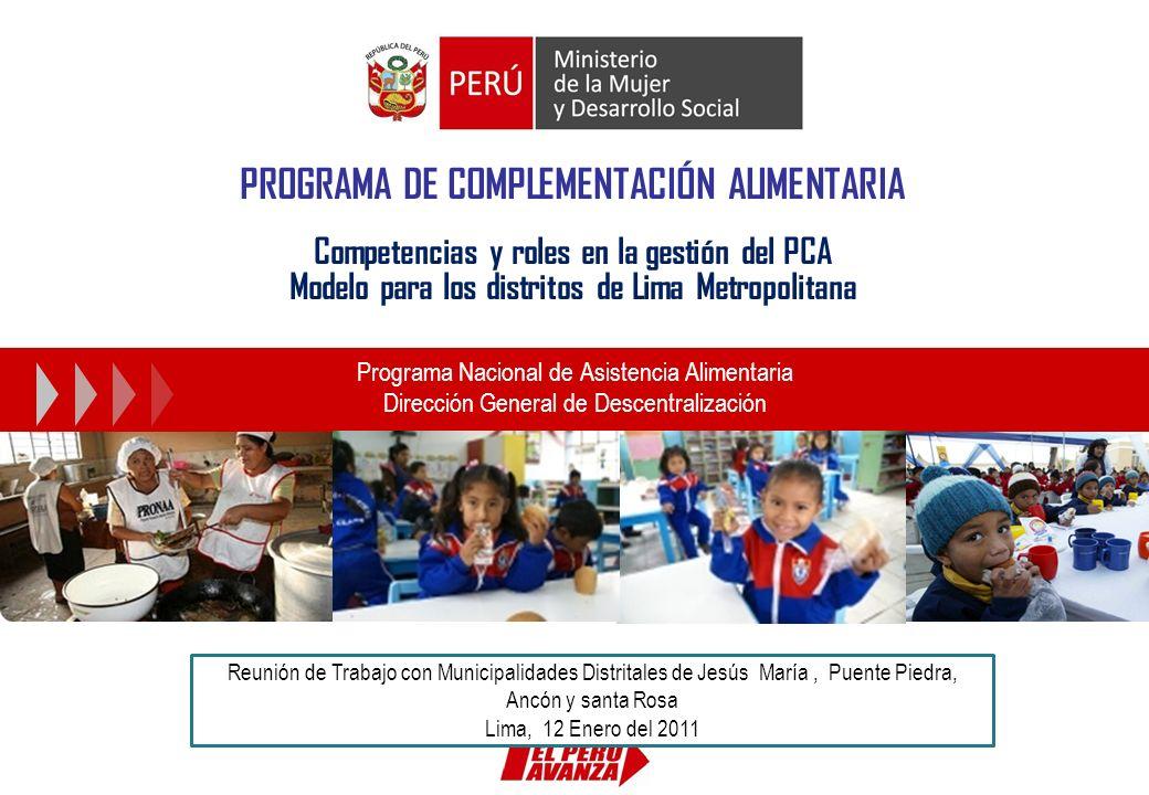 PROGRAMA DE COMPLEMENTACIÓN ALIMENTARIA Competencias y roles en la gestión del PCA Modelo para los distritos de Lima Metropolitana