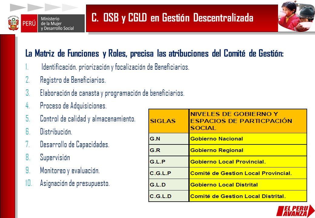C. OSB y CGLD en Gestión Descentralizada