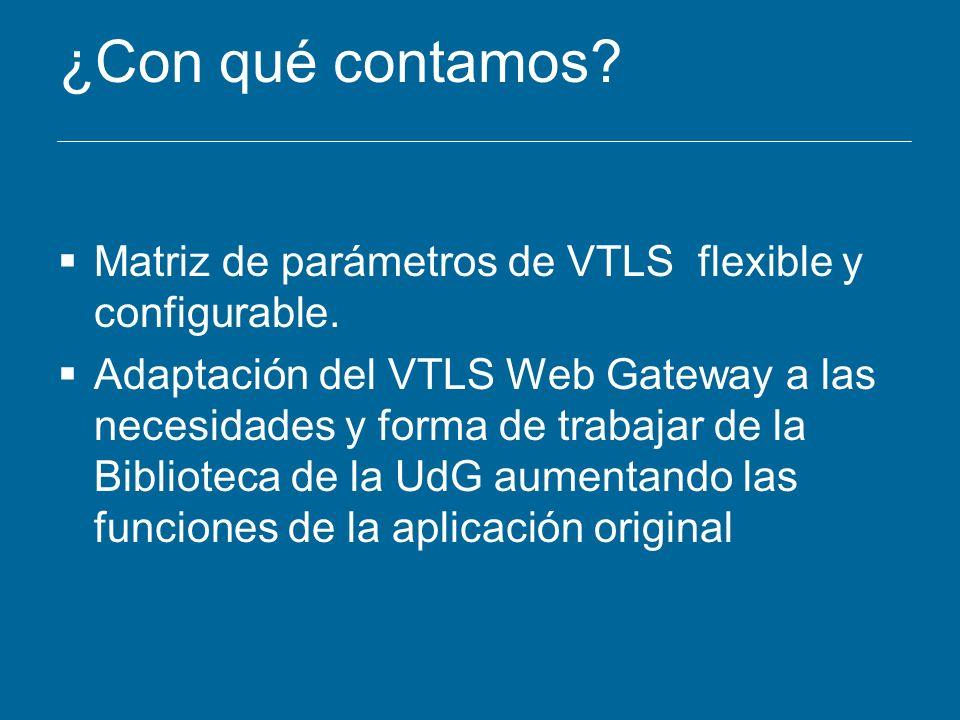 ¿Con qué contamos Matriz de parámetros de VTLS flexible y configurable.