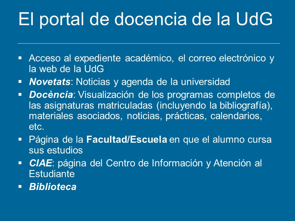 El portal de docencia de la UdG