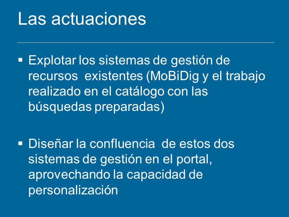 Las actuaciones Explotar los sistemas de gestión de recursos existentes (MoBiDig y el trabajo realizado en el catálogo con las búsquedas preparadas)