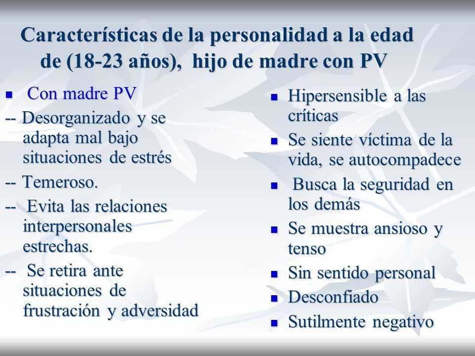 Características de la personalidad a la edad de (18-23 años), hijo de madre con PV