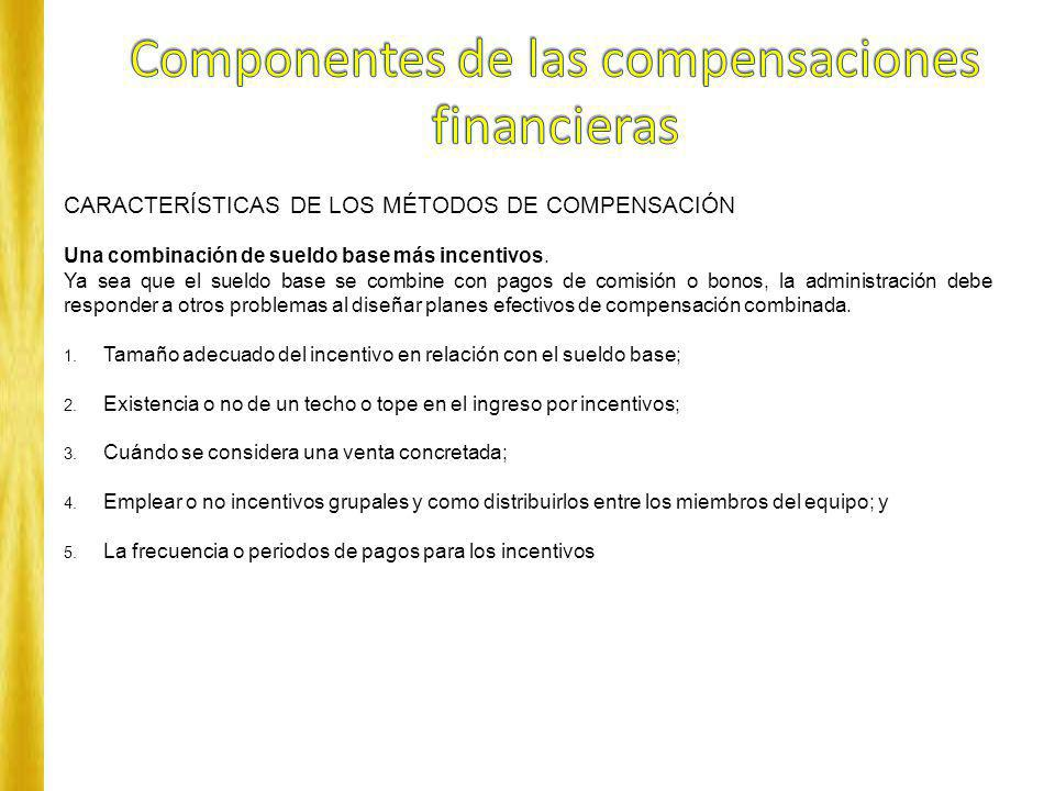 Componentes de las compensaciones financieras