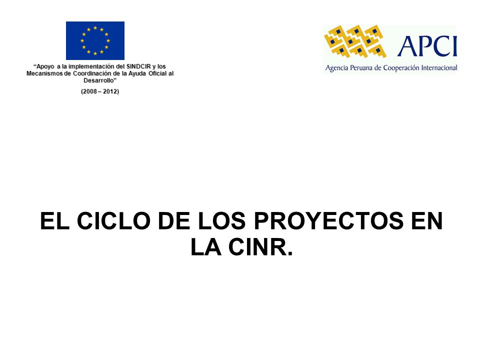 EL CICLO DE LOS PROYECTOS EN LA CINR.