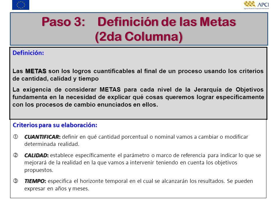 Paso 3: Definición de las Metas