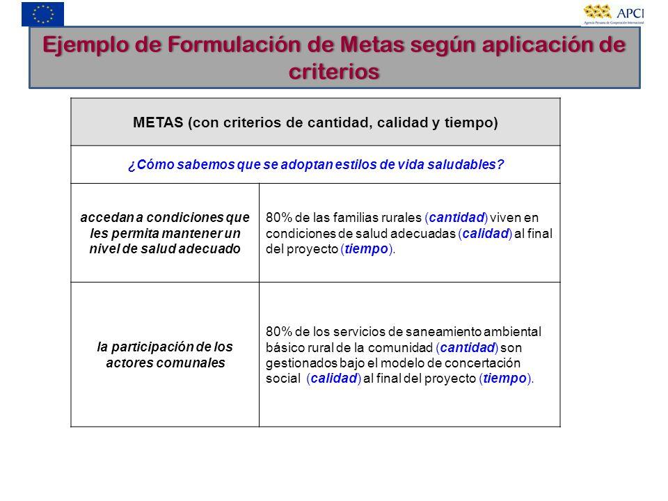 Ejemplo de Formulación de Metas según aplicación de criterios
