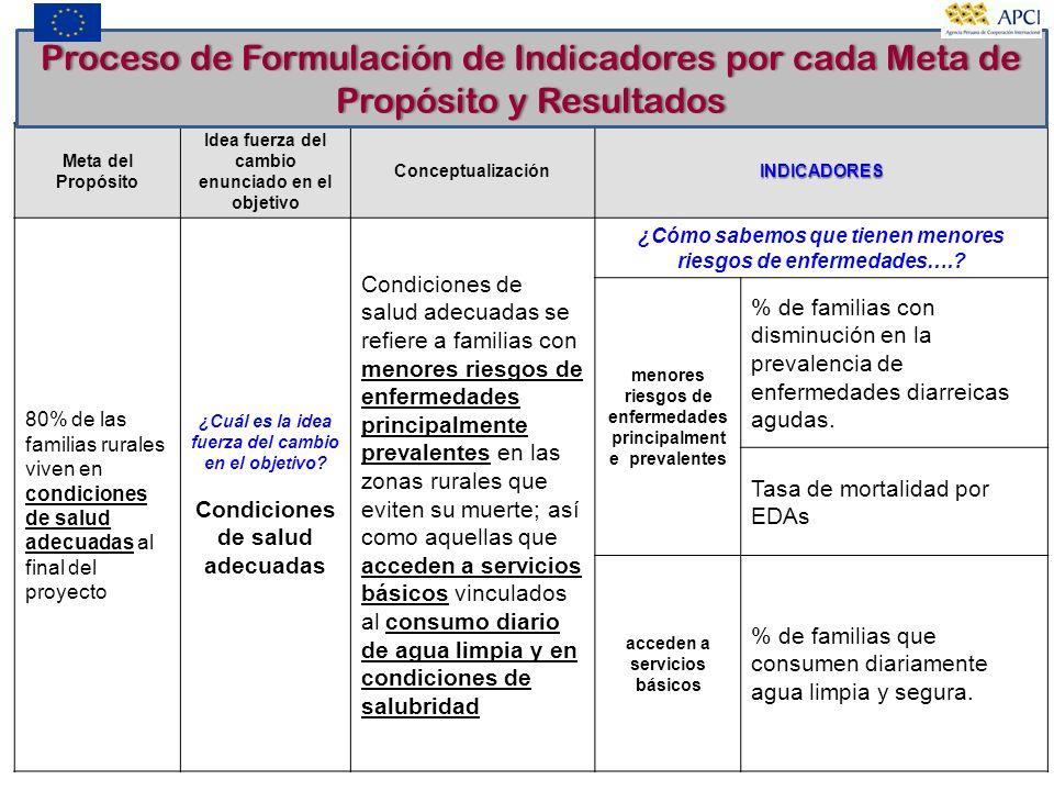 Proceso de Formulación de Indicadores por cada Meta de Propósito y Resultados
