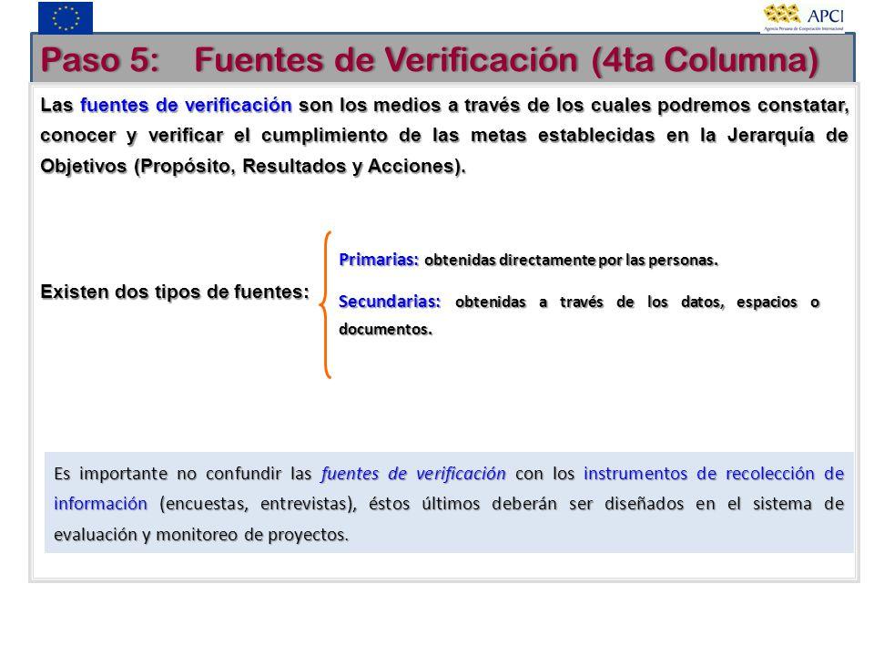 Paso 5: Fuentes de Verificación (4ta Columna)