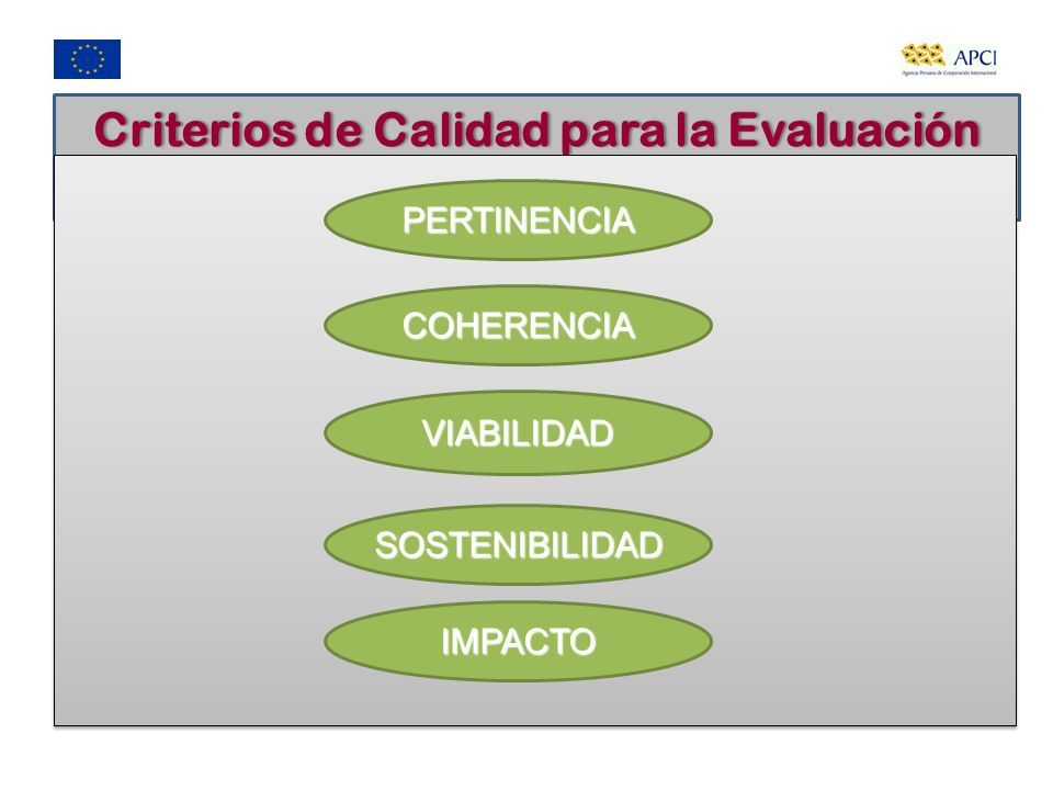 Criterios de Calidad para la Evaluación Ex ante