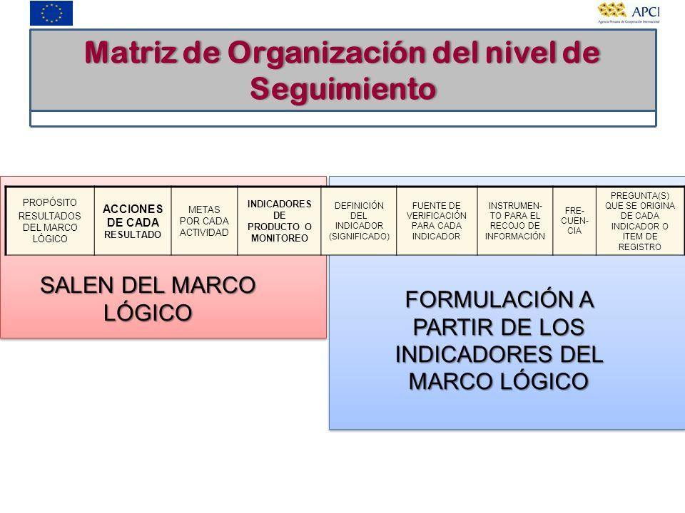 Matriz de Organización del nivel de Seguimiento