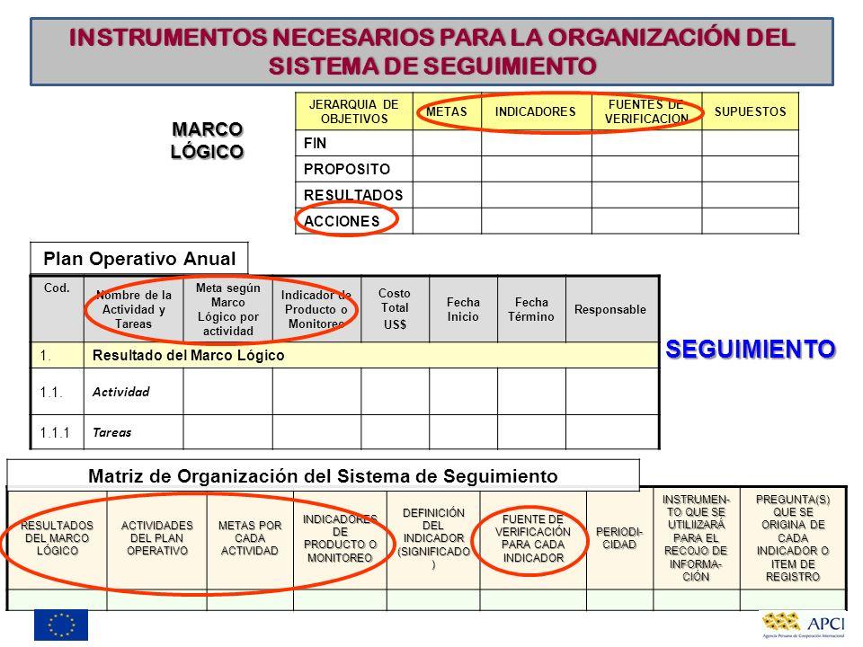 INSTRUMENTOS NECESARIOS PARA LA ORGANIZACIÓN DEL SISTEMA DE SEGUIMIENTO