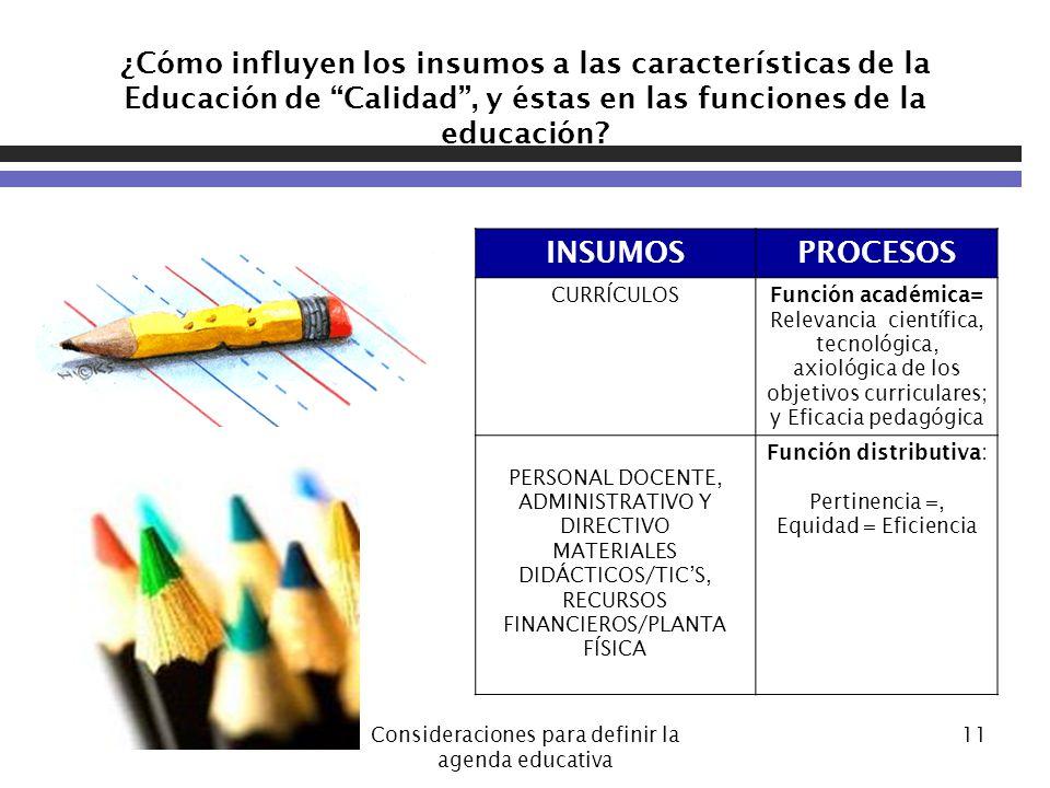 ¿Cómo influyen los insumos a las características de la Educación de Calidad , y éstas en las funciones de la educación