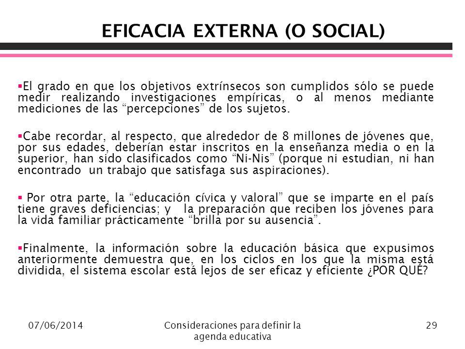EFICACIA EXTERNA (O SOCIAL)