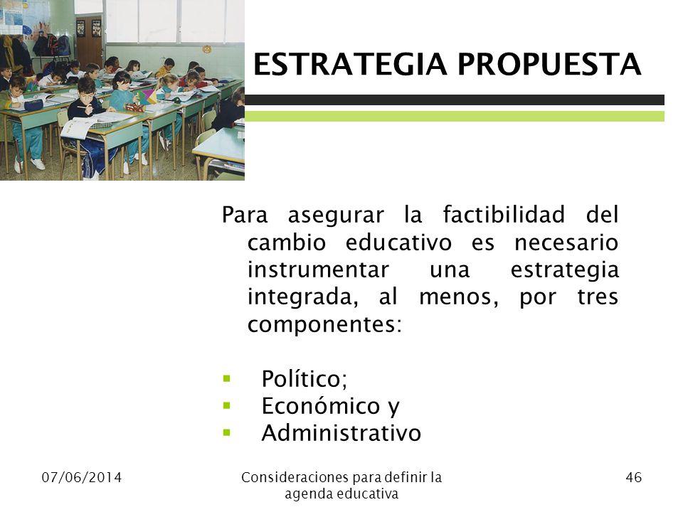 Consideraciones para definir la agenda educativa