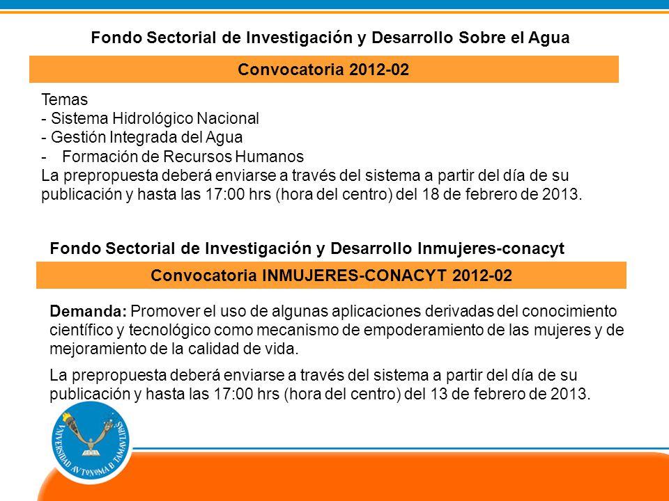 Convocatoria INMUJERES-CONACYT 2012-02