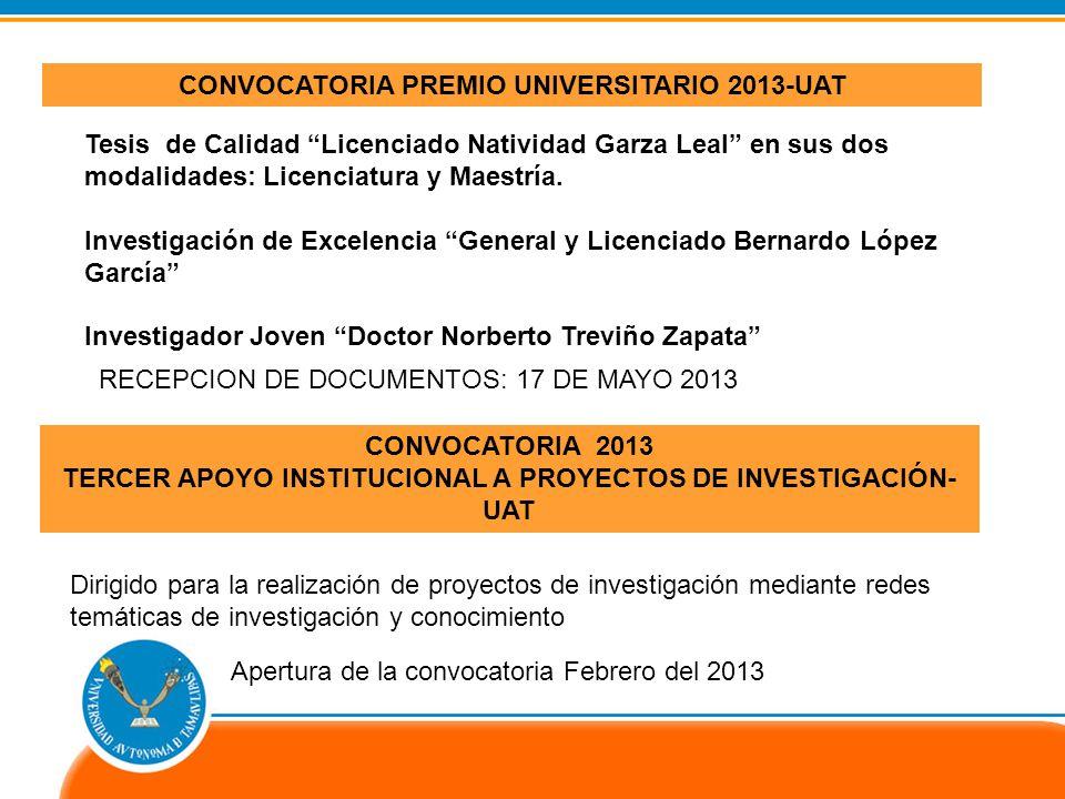 CONVOCATORIA PREMIO UNIVERSITARIO 2013-UAT