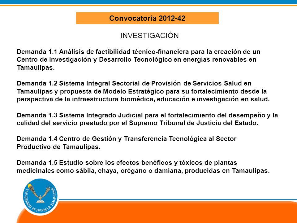 Convocatoria 2012-42 INVESTIGACIÓN