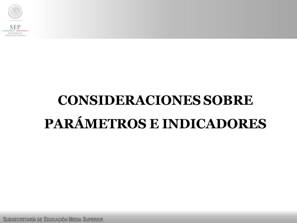 CONSIDERACIONES SOBRE PARÁMETROS E INDICADORES