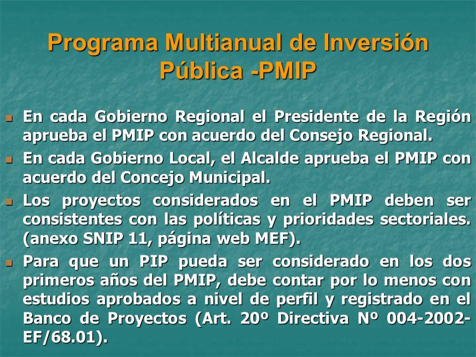 Programa Multianual de Inversión Pública -PMIP