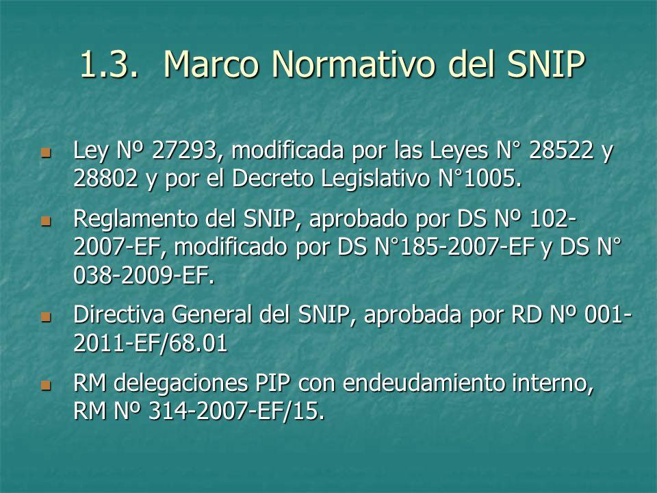 1.3. Marco Normativo del SNIP