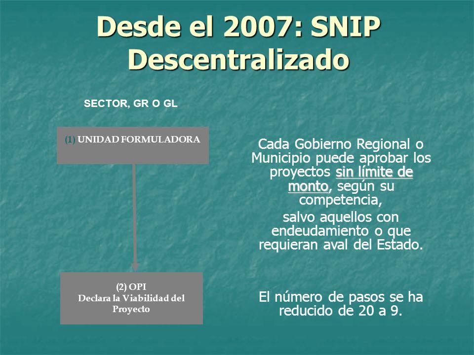 Desde el 2007: SNIP Descentralizado