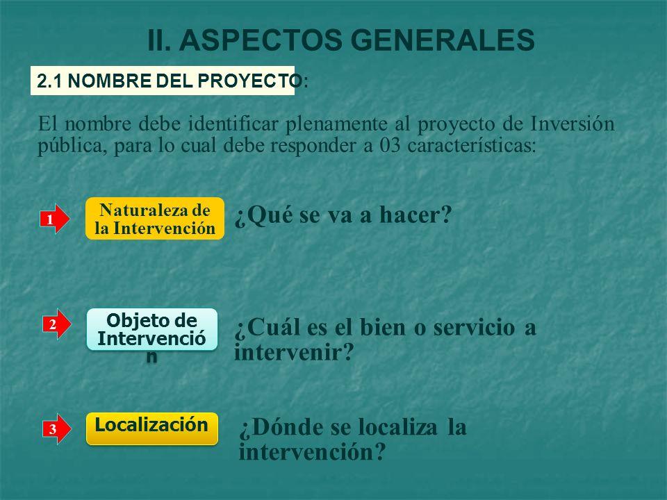 Naturaleza de la Intervención Objeto de Intervención