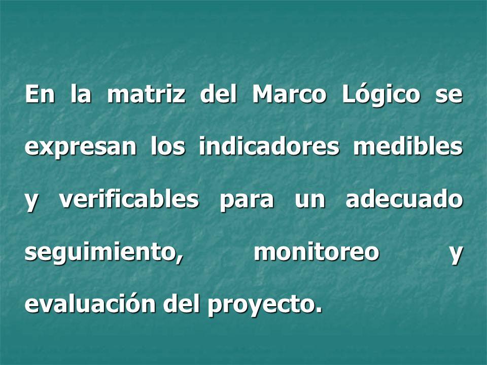 En la matriz del Marco Lógico se expresan los indicadores medibles y verificables para un adecuado seguimiento, monitoreo y evaluación del proyecto.