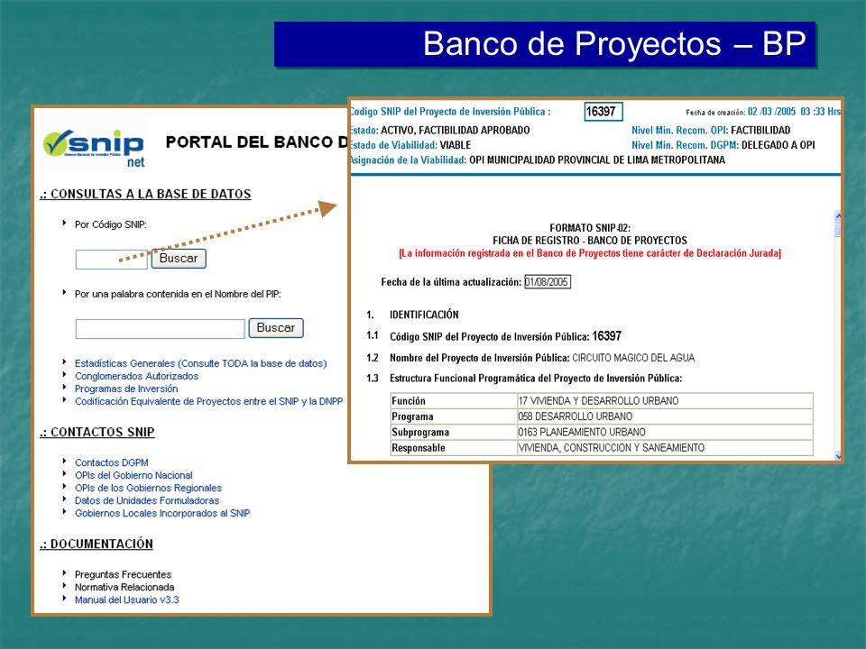 Banco de Proyectos – BP