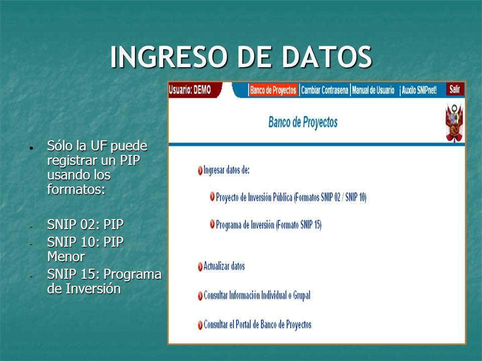 INGRESO DE DATOS Sólo la UF puede registrar un PIP usando los formatos: SNIP 02: PIP. SNIP 10: PIP Menor.