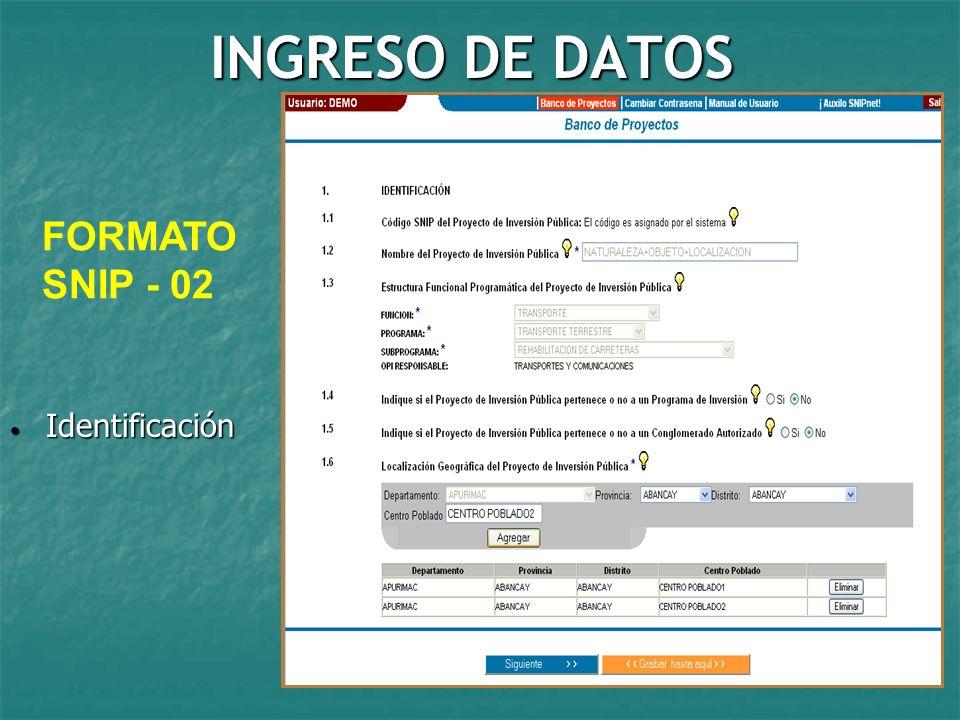 INGRESO DE DATOS FORMATO SNIP - 02 Identificación