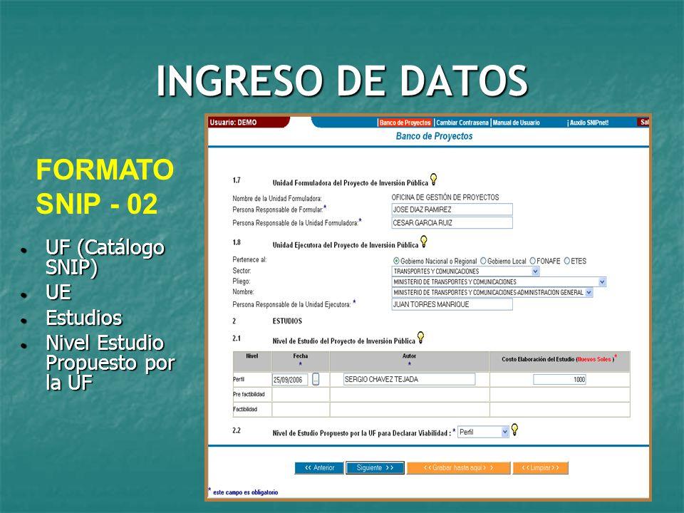 INGRESO DE DATOS FORMATO SNIP - 02 UF (Catálogo SNIP) UE Estudios