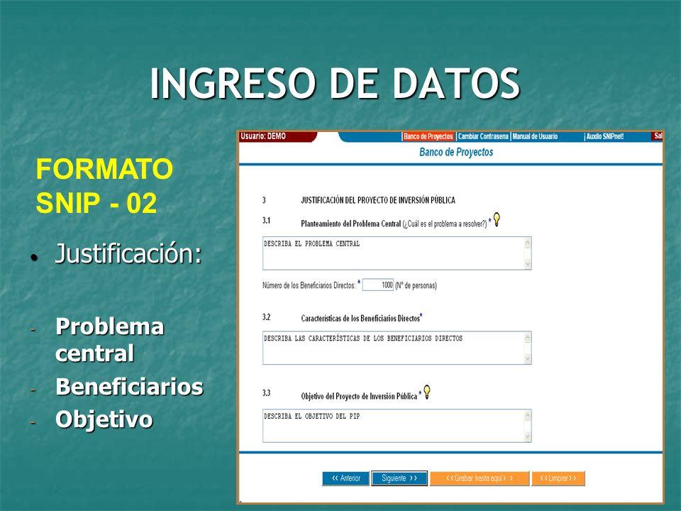 INGRESO DE DATOS FORMATO SNIP - 02 Justificación: Problema central
