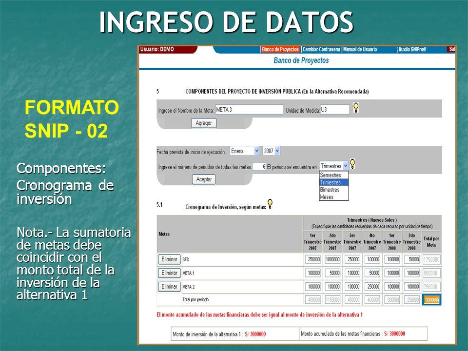 INGRESO DE DATOS FORMATO SNIP - 02 Componentes: