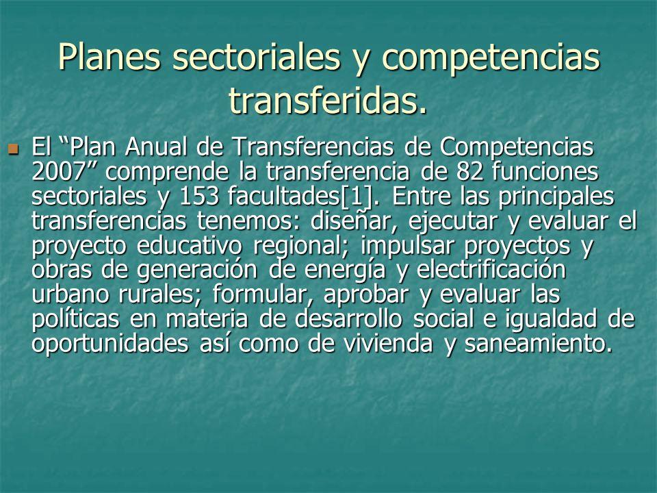 Planes sectoriales y competencias transferidas.