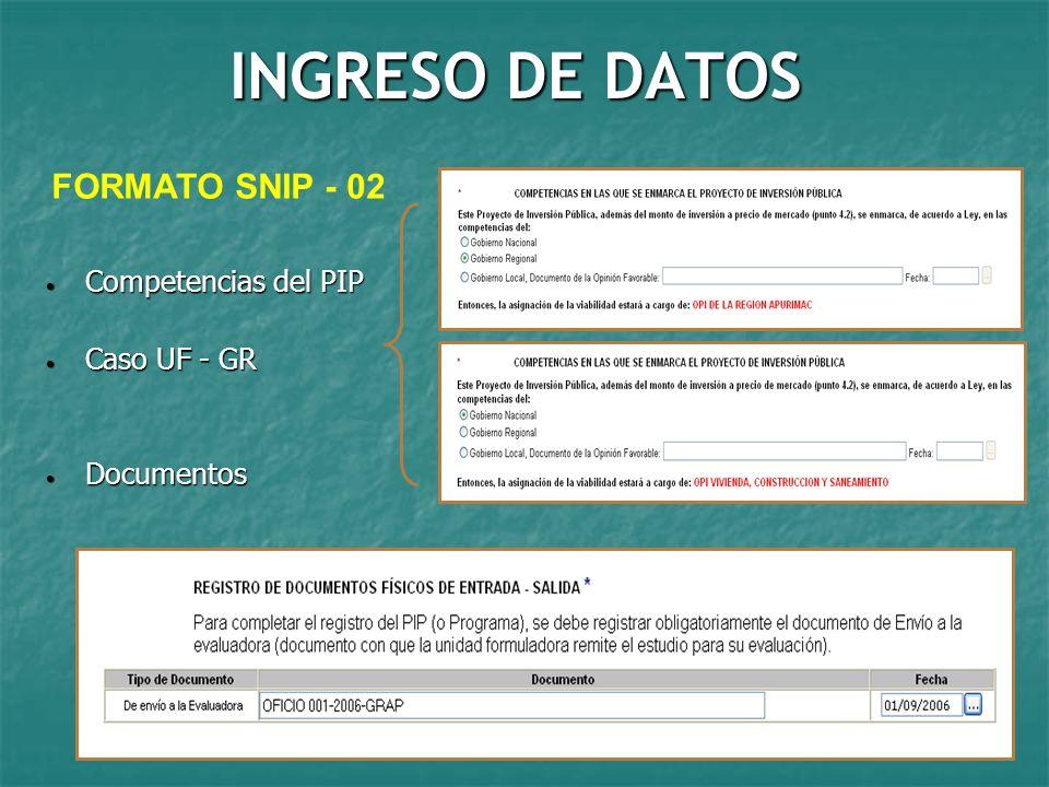 INGRESO DE DATOS FORMATO SNIP - 02 Competencias del PIP Caso UF - GR