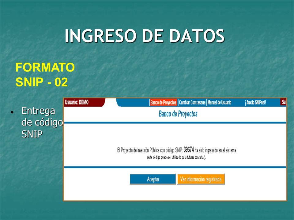 INGRESO DE DATOS FORMATO SNIP - 02 Entrega de código SNIP