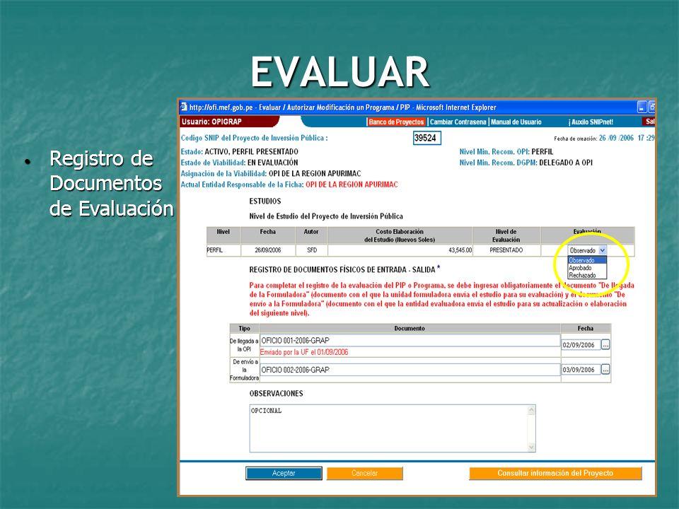 EVALUAR Registro de Documentos de Evaluación