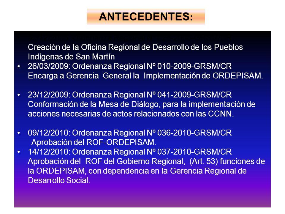 ANTECEDENTES: 30/12/2005: Ordenanza Regional Nº 028-2005-GRSM/CR.