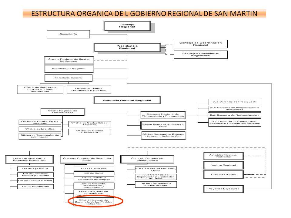 ESTRUCTURA ORGANICA DE L GOBIERNO REGIONAL DE SAN MARTIN