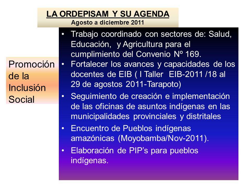 LA ORDEPISAM Y SU AGENDA Agosto a diciembre 2011