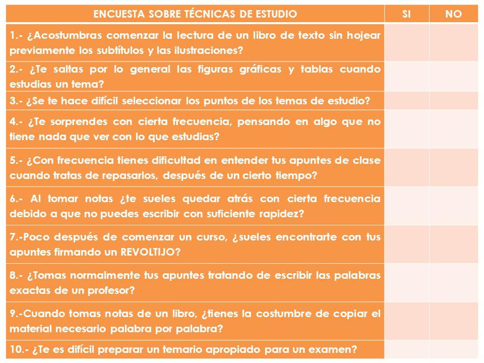 ENCUESTA SOBRE TÉCNICAS DE ESTUDIO