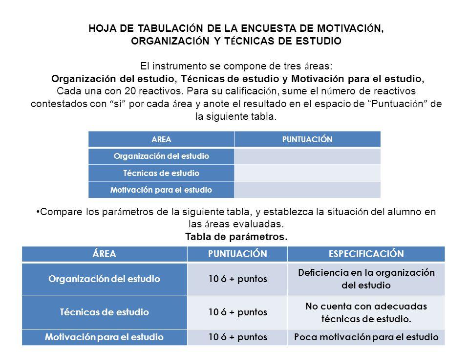 HOJA DE TABULACIÓN DE LA ENCUESTA DE MOTIVACIÓN, Tabla de parámetros.