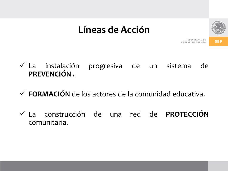Líneas de Acción La instalación progresiva de un sistema de PREVENCIÓN . FORMACIÓN de los actores de la comunidad educativa.