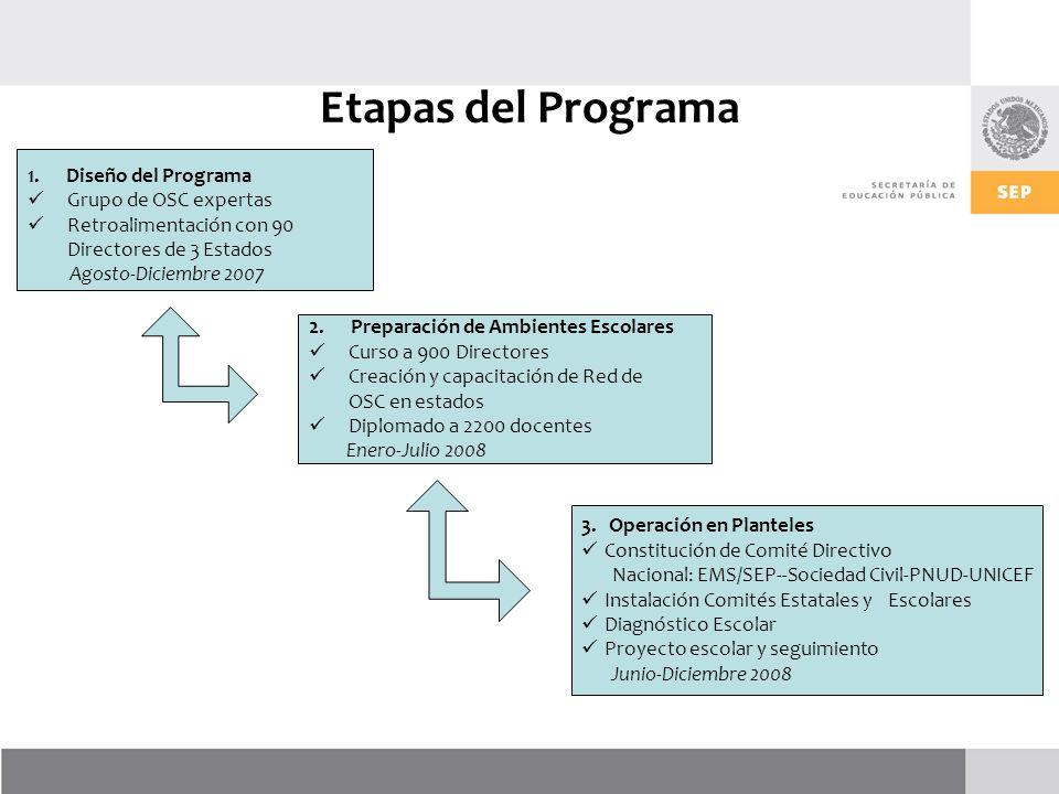 Etapas del Programa 1. Diseño del Programa Grupo de OSC expertas